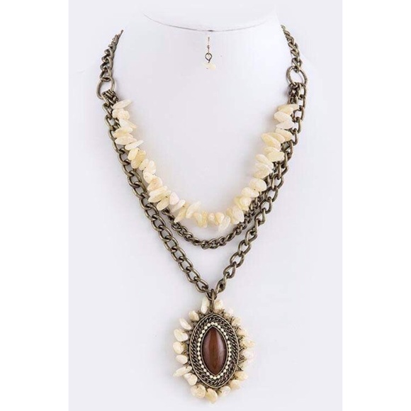 Fashion Jewelry Jewelry - Tiered Necklace Set in Beige Brown Eye Oval Stone